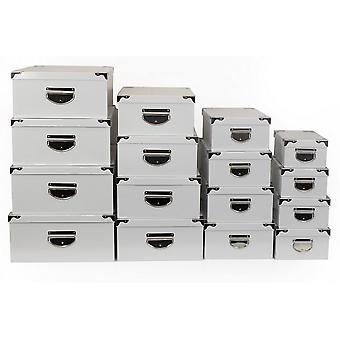 SET OF 16 WHITE BOXES WITH METAL HANDLE STORAGE GIFT DECORATION