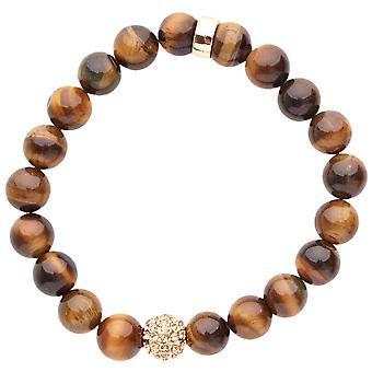 Iced out unisex houten CZ parel armband - 10mm hout bruin
