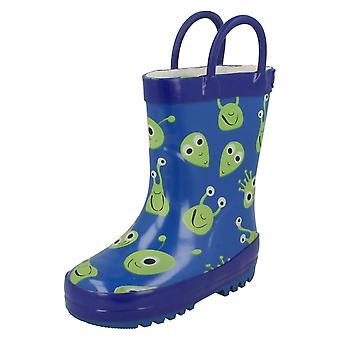 Boys Startrite Wellingtons Space Glow