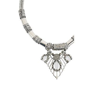 Silver Triangular Diamante Pendant Rope Necklace