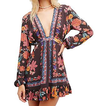Free People Women's Violet Hill Print Tunic, Floral, Low Plunge
