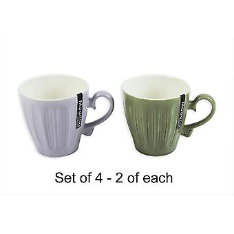 New Bone China Mugs Set of 4 Home Kitchen Office Cups Embossed Modena