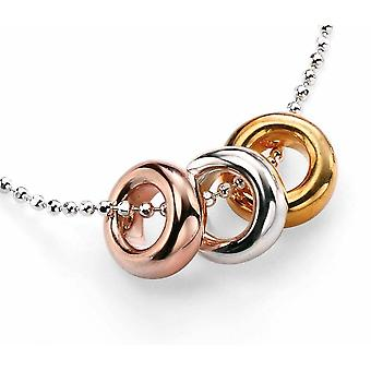925 Silver Gold Plated 3 Rings Necklace