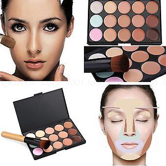Boolavard 15 kleuren gezicht Contour make-up Camouflage palet Cream Concealer Kit met borstel