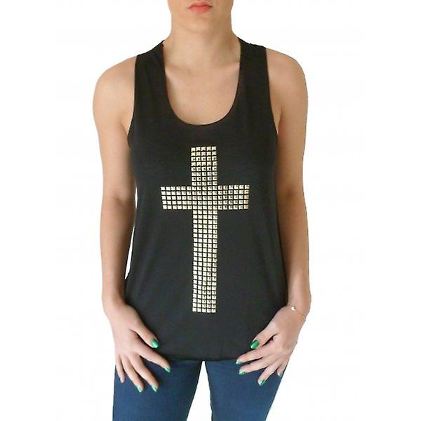 W.A.T  Black Gold Studded Cross Vest