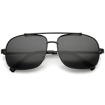 Occhiali da sole Aviator classico quadrato dritto metallo Crossbar polarizzata lente 58mm