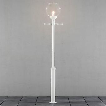 Konstsmide Orion Traditional White Garden Light Column With Clear Globe