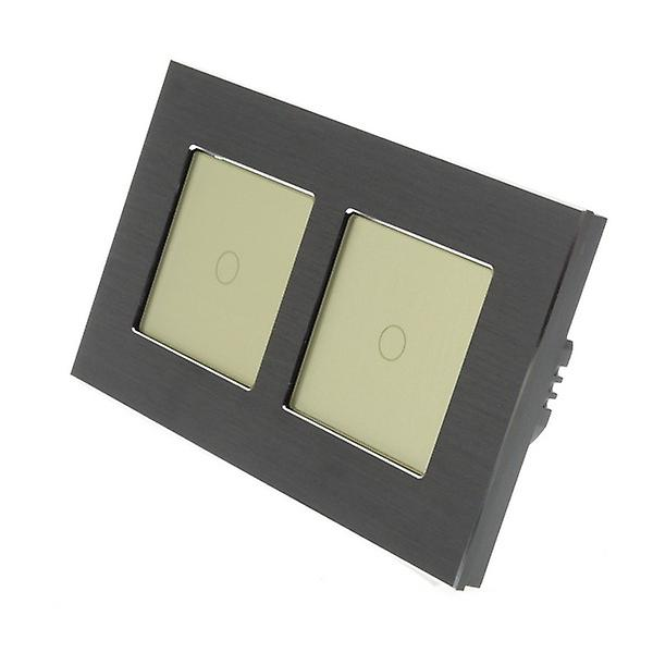 I LumoS noir Brushed Aluminium Double Frame 2 Gang 2 Way WIFI 4G Remote & Dimmer Touch LED lumière Switch or Insert