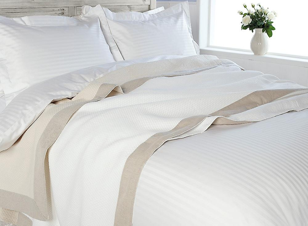 Luxury diamond weave linen border Throwover Bedspread