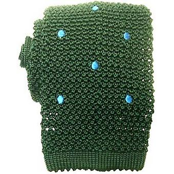 KJ Beckett Spotted Silk Knitted Tie - Green/Blue