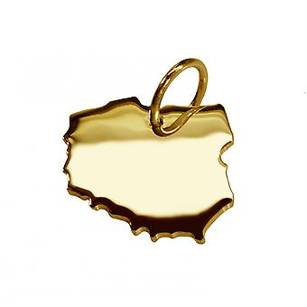 Trailer map Poland pendants in massive 585 gold