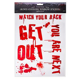 Halloween Bloody Window Stickers Party Decoration-Get Out