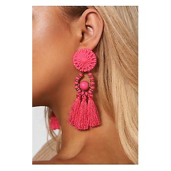 The Fashion Bible Zara Pink Tassel Earrings