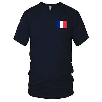 France French Country National Flag - Embroidered Logo - 100% Cotton T-Shirt Mens T Shirt