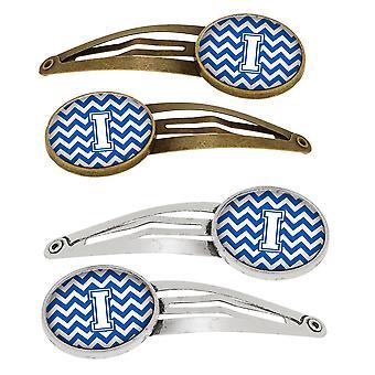 De letter I Chevron blauw en wit-Set van 4 haarspeldjes Hair Clips