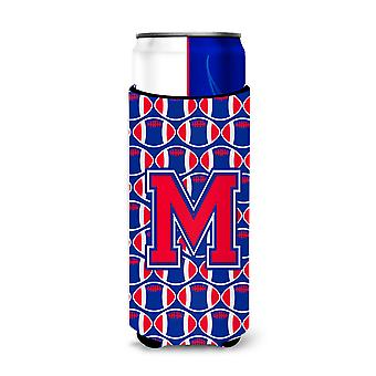Letter M Football Crimson and Yale Blue Ultra Beverage Insulators for slim cans