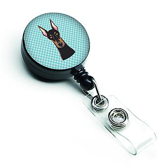 Carolines Treasures  BB1183BR Checkerboard Blue Doberman Retractable Badge Reel