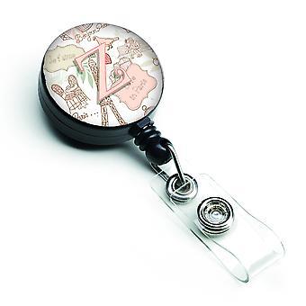 Letter Z Love in Paris Pink Retractable Badge Reel