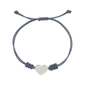 Sterling Silver Handmade Girls Womens Bracelet Handcrafted Cotton Wire with Shining Heart Charm Length Adjustable