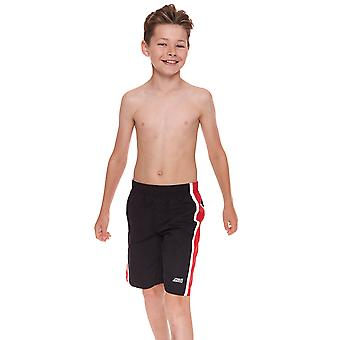 Zoggs Junior Boy's Muriwai Swimming Shorts Black/Red for 6-15 Years Children