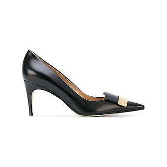 Sergio Rossi women's A78950MAGN051000 black leather pumps