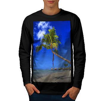 Beach Holiday Sun Nature Men BlackLong Sleeve T-shirt | Wellcoda