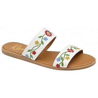 Ladies Womens Ravel Embroidered White Leather Slip On Flat Sandals Shoes