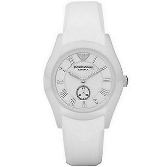 Emporio Armani Womens dames Ceramic Watch siliconen band White Dial AR1433