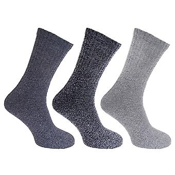 Mens Cotton Rich Knit Look Boot Socks (3 Pairs)