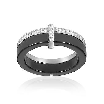 Ring black, Crystal Cubic Zirconia white ceramic and Silver 925 - T54