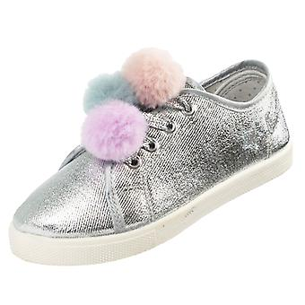 Girls silver sparkly pom pom trainers