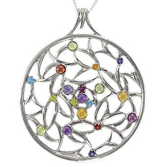 Shipton and Co Ladies Shipton And Co Exclusive Silver And Multiple Stone, Peridot Pendant Including A 16