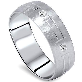 Mens 14K White Gold Diamond Swiss Cut Wedding Band
