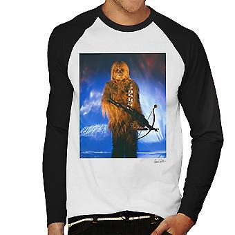 Star Wars Behind The Scenes Chewbacca White Men's Baseball Long Sleeved T-Shirt