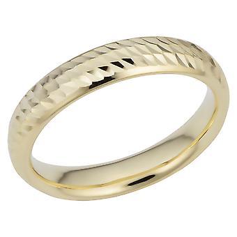 14k diamant or jaune coupe Anneau demi-jonc large creux 4mm