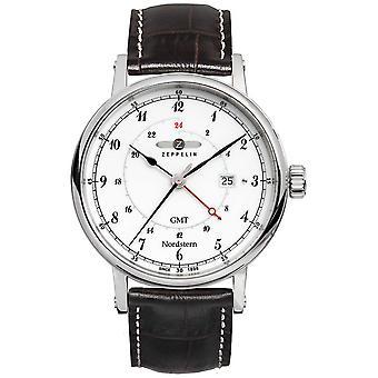 Zeppelin Nordstern Date Display Dual Time Zone Sweep Hand 7546-1 Watch