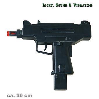 UZI luz vibración sonora efecto juguete pistola guerra