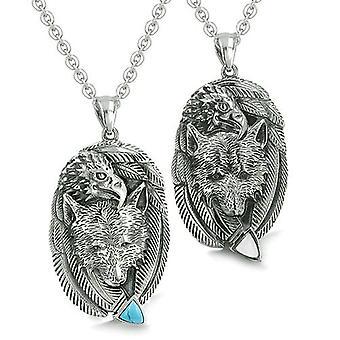 Amuletter par bedste venner ulv Eagle enhed fjer turkis katte øje pilespids halskæder