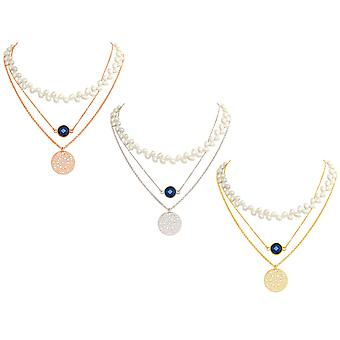 GEMSHINE ladies necklace Choker in 925 Silver, gold plated or rose with White Pearl, gemstone and dream catcher mandala. Made in Munich / Germany. Quality of jewelry in a fine case.