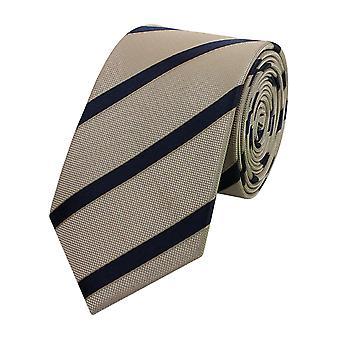 Schlips Krawatte Krawatten Binder Schmal 6cm Beige/Grau gestreift Fabio Farini