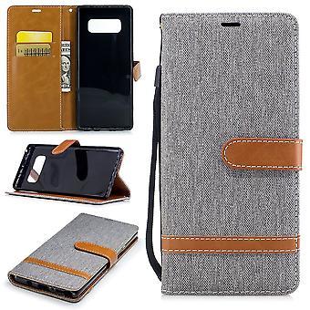 Tasche für Samsung Galaxy Note 8 Jeans Cover Handy Schutz Hülle Case Grau