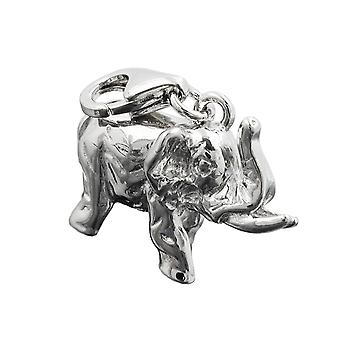 Single earrings silver rhodium-plated elephant charm pendant 925 sterling silver
