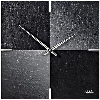 AMS 9520 wall clock quartz of slate natural slate with aluminium slate watch chess