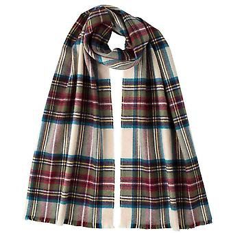 Johnstons of Elgin Calico Stewart Extra Fine Tartan Scarf - Beige/Blue/Green