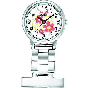 Lorus RG237HX9 Nurses Fob Watches - Silver with Flower Pattern Dial
