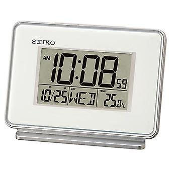 Seiko QHL068W LCD Dual Alarm Clock with Calendar and Thermometer - White