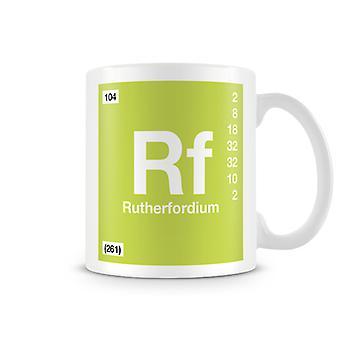 Mug imprimé scientifique, mettant en vedette élément symbole 104 Rf - Rutherfodium