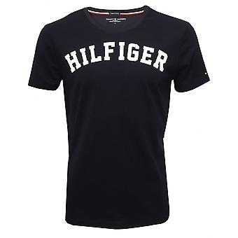 Tommy Hilfiger Hilfiger Crew-hals økologisk bomull t-skjorte, marinen med hvit