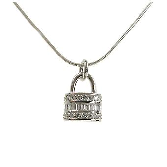 Cavendish French CZ and Sterling Silver Padlock Pendant without Chain