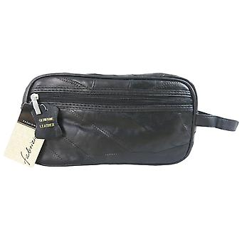 Mens leather washbag toiletry bag black by Fabrizio